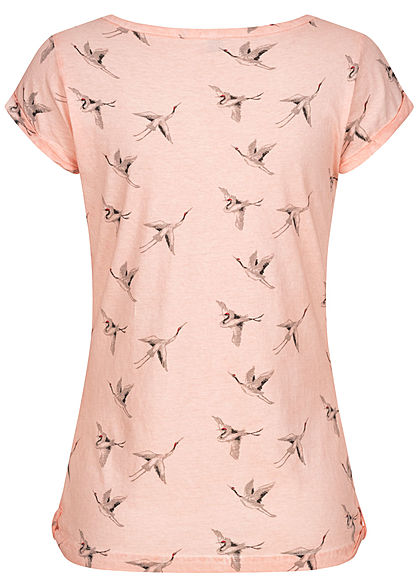 Fresh Made Damen T-Shirt Vogel Print Schnürausschnitt hell rosa grau