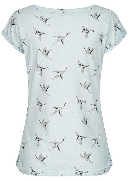 Fresh Made Damen T-Shirt Vogel Print Schnürausschnitt ice hell blau grau