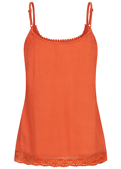 Eight2Nine Damen Blusen Krepp Top mit Häkelbesatz 2-lagig autumn orange