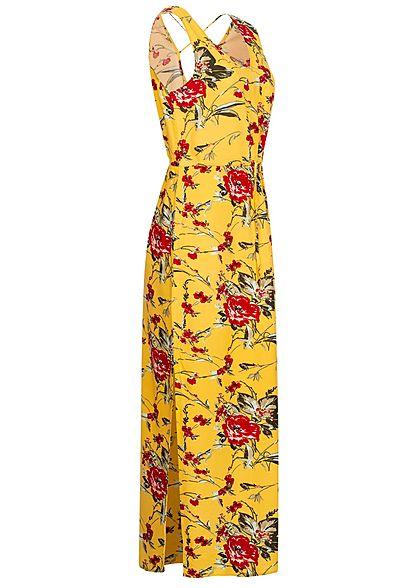Vero Moda Damen V-Neck Maxi Kleid Schlitz seitlich Blumen Muster banana cream gelb
