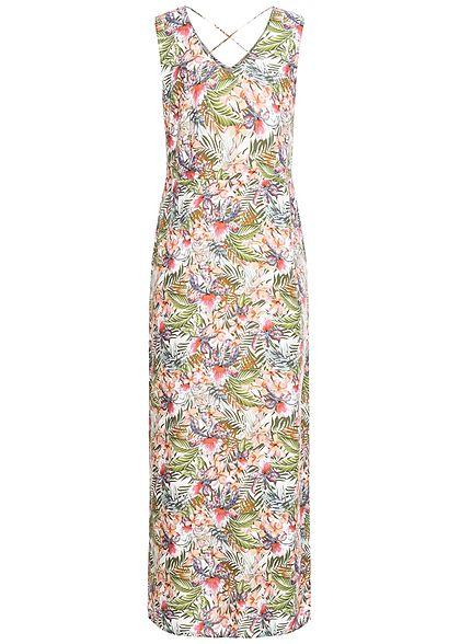 Vero Moda Damen V-Neck Maxi Kleid Schlitz seitlich Floraler Print snow weiss