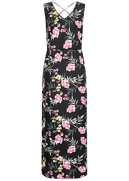 Vero Moda Damen V-Neck Maxi Kleid Schlitz seitlich Tropical Print schwarz mc
