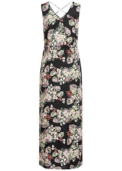 Vero Moda Damen V-Neck Maxi Kleid Schlitz seitlich Floraler Print schwarz rosa