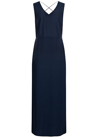 Vero Moda Damen V-Neck Maxi Kleid Schlitz seitlich blazer navy blau unicolor