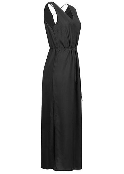Vero Moda Damen V-Neck Maxi Kleid Schlitz seitlich schwarz unicolor