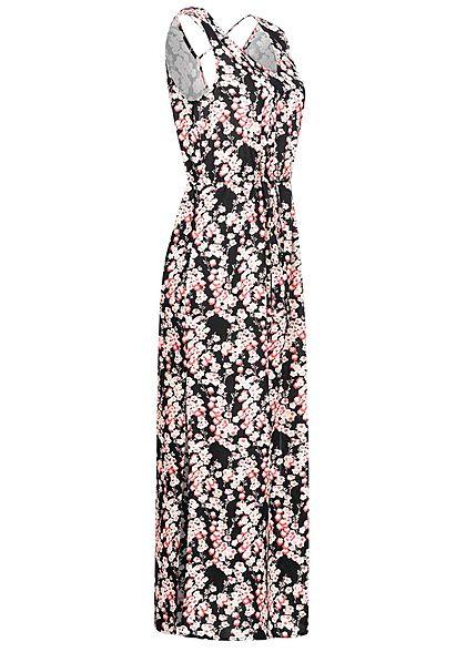 Vero Moda Damen V-Neck Maxi Kleid Schlitz seitlich Blumen Print schwarz rosa weiss