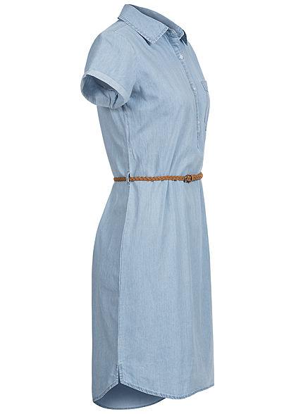 Eight2Nine Damen Denim Kleid inkl. Flechtgürtel Knopfleiste hell blau denim