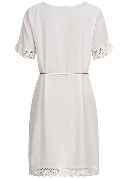 Eight2Nine Damen Krepp Kleid Häkelbesatz inkl. Feder Gürtel Knopfleiste off weiss