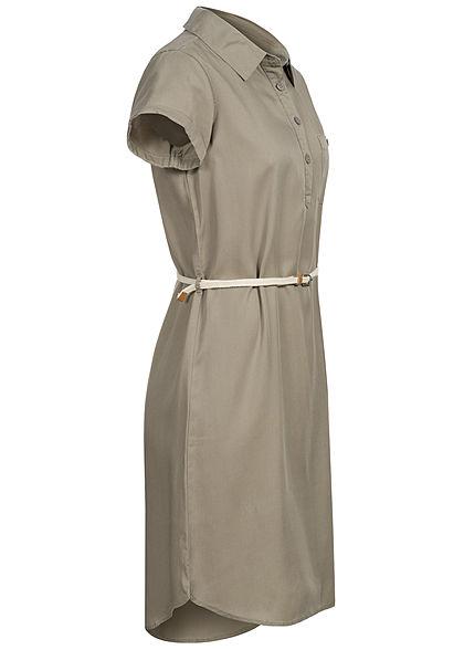 Rock Angel Damen Kleid inkl. Flechtgürtel Knopfleiste sage grün