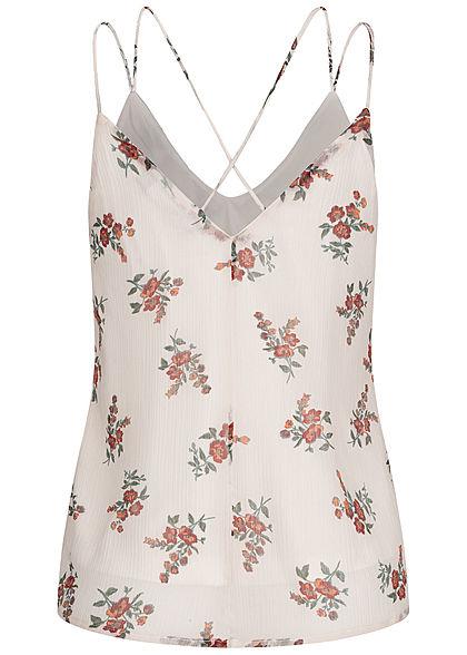 Vero Moda Damen V-Neck Top 2-lagig Kreuzdetail hinten Blumen Print birch beige
