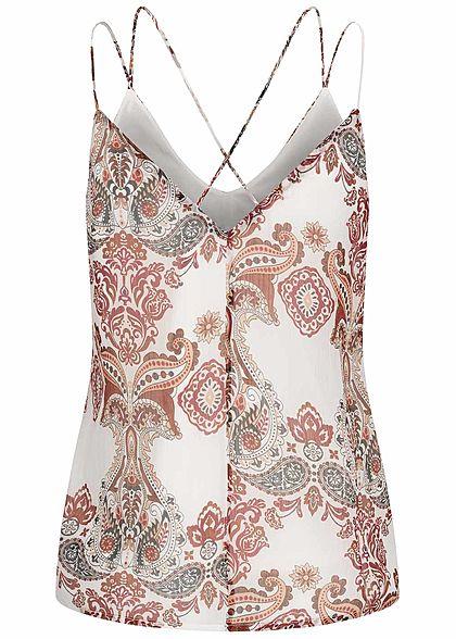 Vero Moda Damen V-Neck Top 2-lagig Kreuzdetail hinten Paisley Print birch off weiss