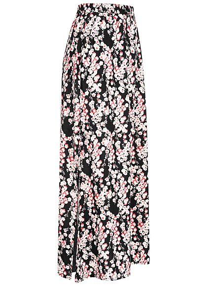 Vero Moda Damen Longform Rock Schlitze seitlich Blumen Print schwarz rosa weiss