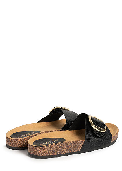 Hailys Damen Schuh Sandale Kunstleder Schlangenhaut Optik schwarz