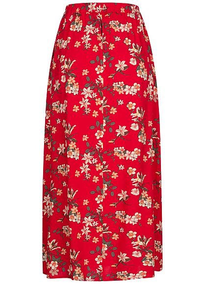 Vero Moda Damen Longform Rock Schlitze seitlich Blumen Print goji berry rot