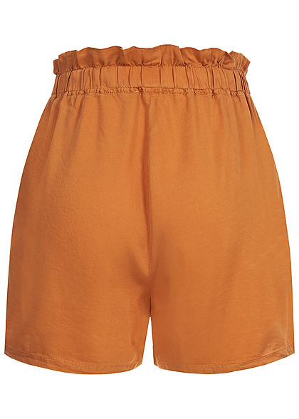 Hailys Damen Paperbag Shorts 2-Pockets Bindedetail vorne hazel braun