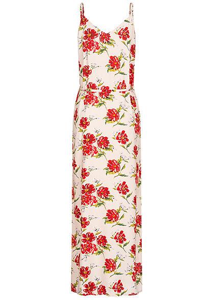 JDY by ONLY Damen V-Neck Maxi Kleid mit Bindegürtel Blumen Muster shell rosa