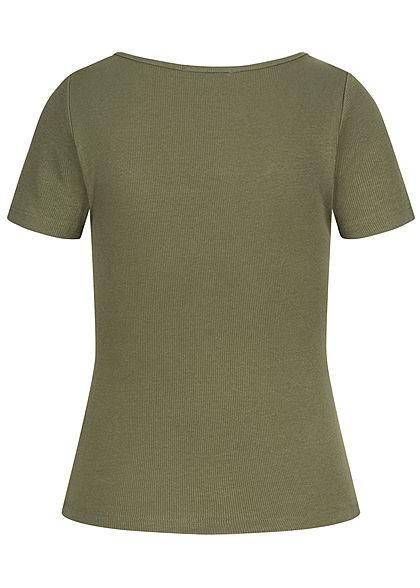 Hailys Damen Ribbed T-Shirt Deko Knopfleiste khaki grün