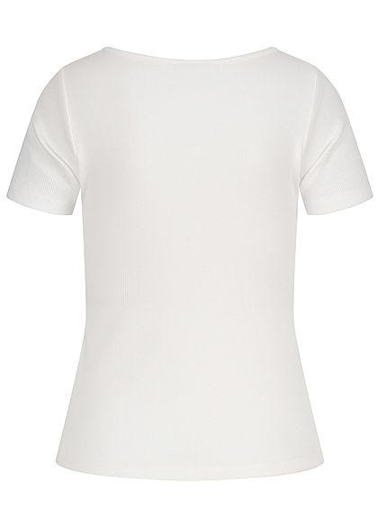 Hailys Damen Ribbed T-Shirt Deko Knopfleiste off weiss