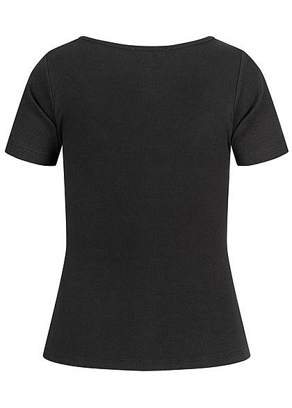 Hailys Damen Ribbed T-Shirt Deko Knopfleiste schwarz