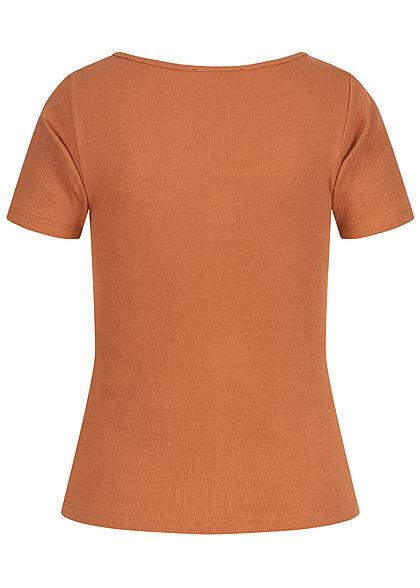 Hailys Damen Ribbed T-Shirt Deko Knopfleiste hazel braun