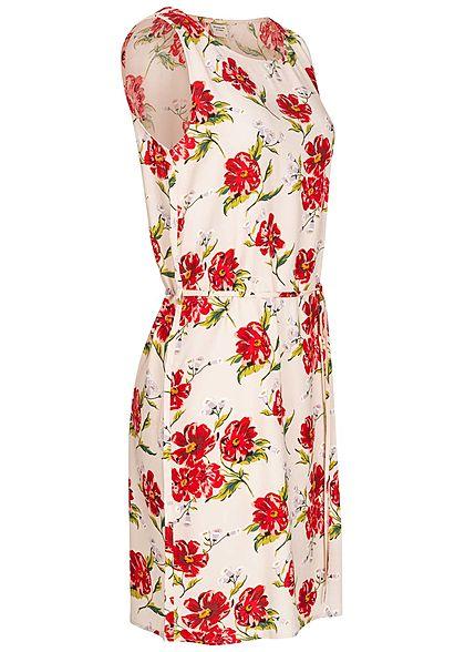 JDY by ONLY Damen Mini Kleid mit Bindegürtel Blumen Print shell rosa
