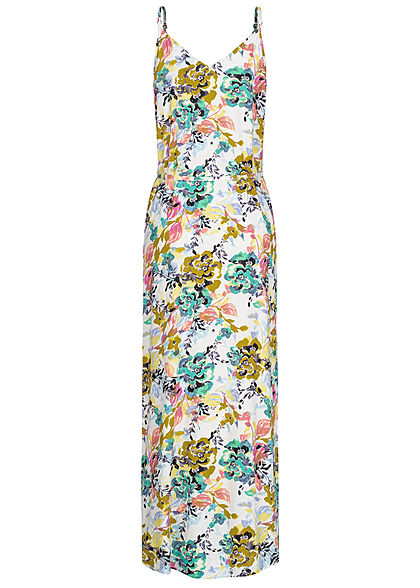 JDY by ONLY Damen V-Neck Maxi Kleid mit Bindegürtel Floraler Print cloud dancer weiss mc