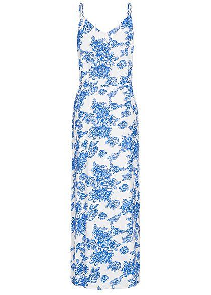 JDY by ONLY Damen V-Neck Maxi Kleid mit Bindegürtel Blumen Print cloud dancer weiss blau