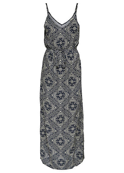 JDY by ONLY Damen V-Neck Maxi Kleid mit Bindegürtel Paisley Print sky captain blau weiss
