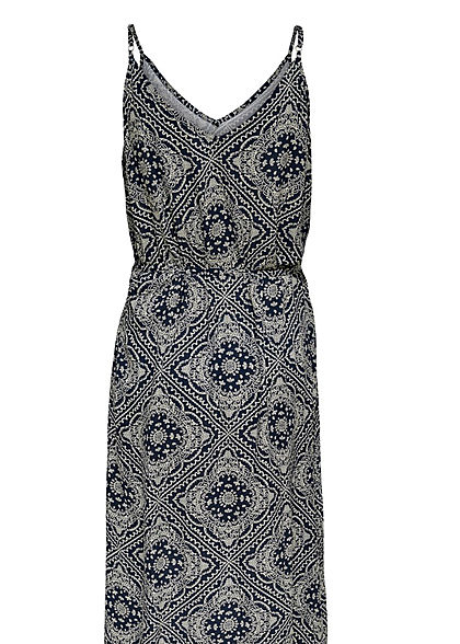JDY by ONLY Damen V-Neck Maxi Kleid mit Bindegürtel Paisley Print sky captain blau weiss