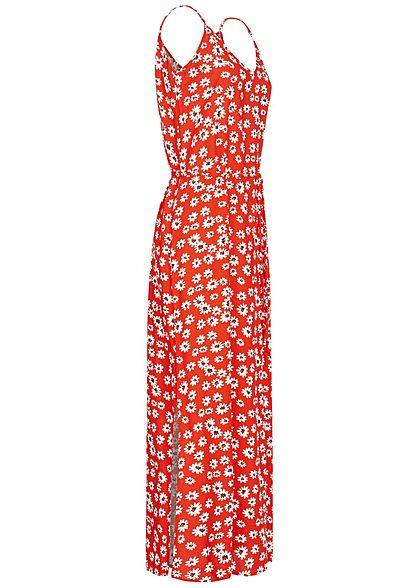 JDY by ONLY Damen V-Neck Maxi Kleid mit Bindegürtel Blumen Print valiant poppy rot