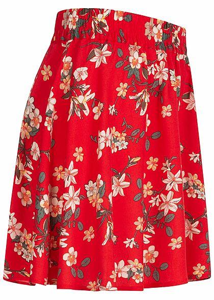 Vero Moda Damen Mini Falten Rock Blumen Print goji berry rot