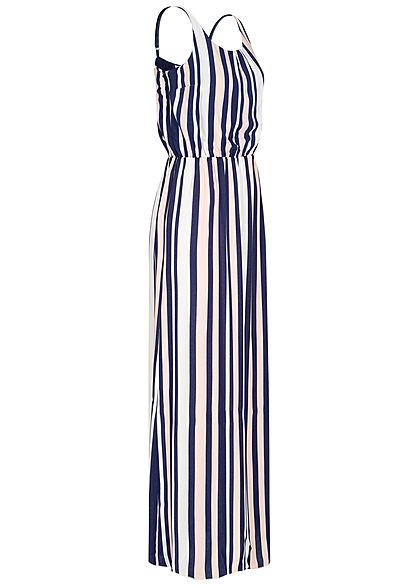 Hailys Damen Maxi Kleid Streifen Muster  Taillenzug navy blau rosa weiss