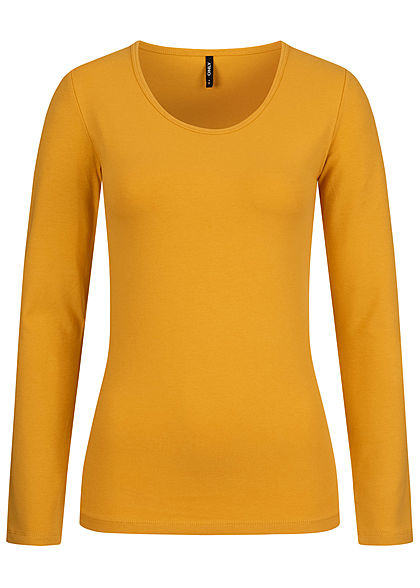 ONLY Damen NOOS Basic O-Neck Longsleeve golden spice gelb