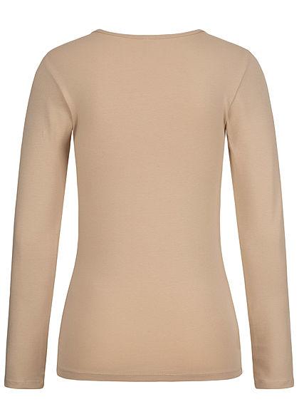 ONLY Damen NOOS Basic O-Neck Longsleeve humus beige