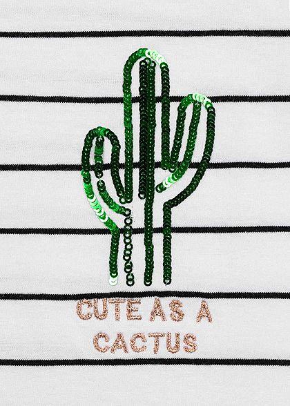 ONLY Damen T-Shirt Streifen Muster Kaktus Pailletten bright weiss schwarz