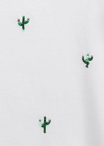 ONLY Damen T-Shirt Kaktus Pailletten Print bright weiss grün
