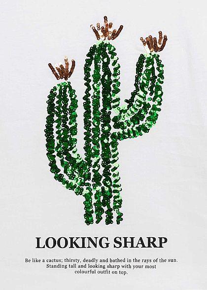 ONLY Damen T-Shirt Kaktus Pailletten Sharp Print bright weiss grün