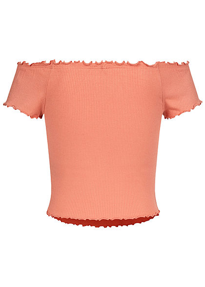 ONLY Damen Off-Shoulder Ribbed Frill T-Shirt terra cotta rose