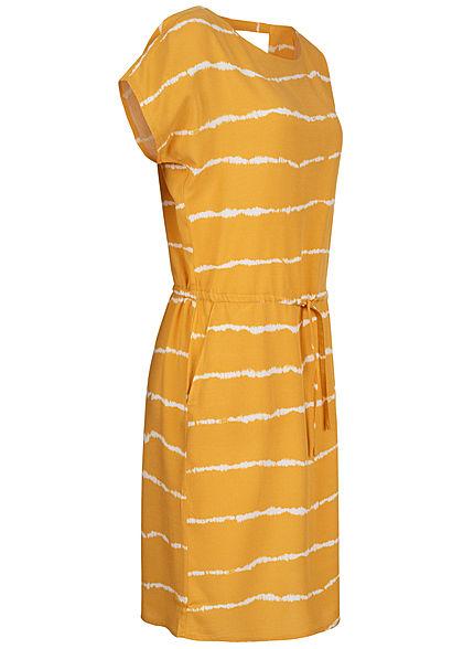 ONLY Damen Kleid DYE Streifen Print 2-Pockets Taillenzug ...