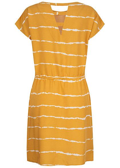 ONLY Damen Kleid DYE Streifen Print 2-Pockets Taillenzug golden spice gelb weiss