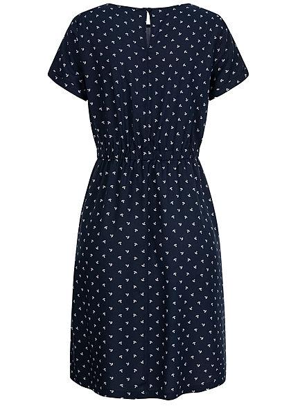 Hailys Damen Kleid 2-Pockets Taillengummibund Anker Muster navy blau weiss