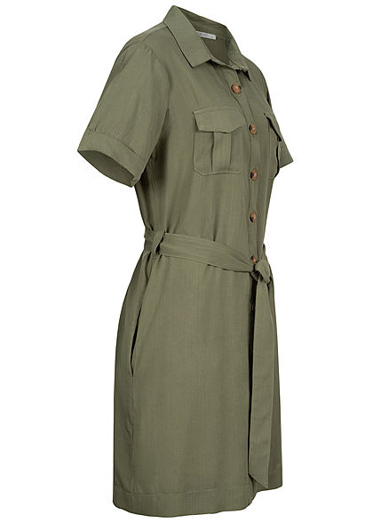 Hailys Damen Blusen Kleid inkl Bindegürtel Knopfleiste 4-Pockets khaki grün
