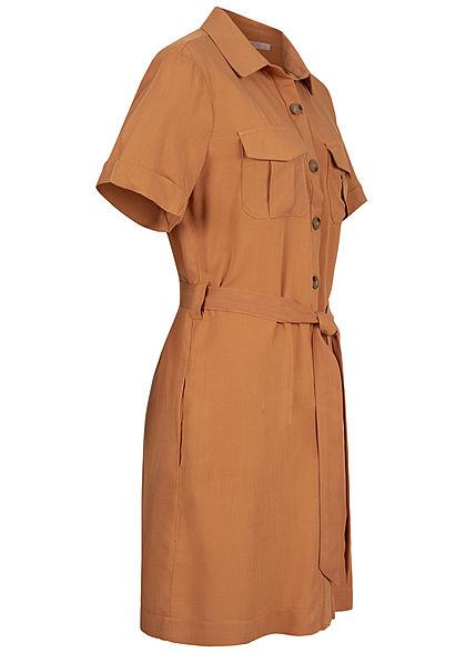 Hailys Damen Blusen Kleid inkl Bindegürtel Knopfleiste 4-Pockets hazel braun