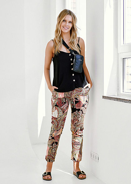 Hailys Damen Sommer Hose 2-Pockets Deko Tunnelzug Paisley Print multicolor