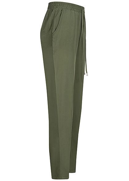 Hailys Damen Sommer Hose 2-Pockets Deko Tunnelzug unicolor khaki grün
