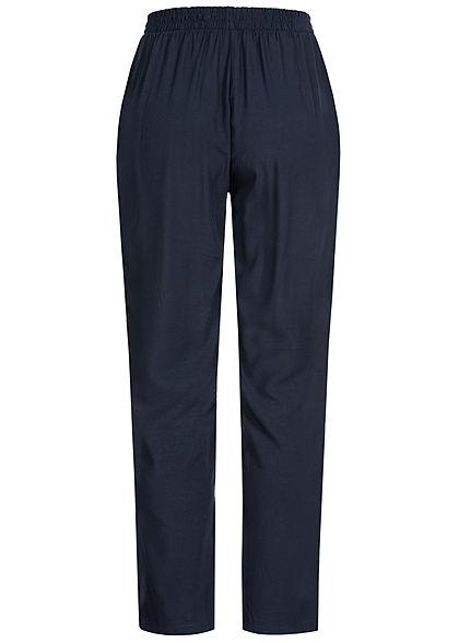 Hailys Damen Sommer Hose 2-Pockets Deko Tunnelzug unicolor navy blau