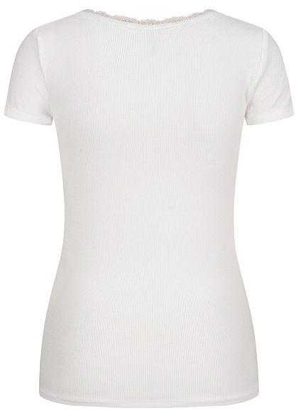 Hailys Damen Ribbed V-Neck T-Shirt mit Spitzendetail off weiss