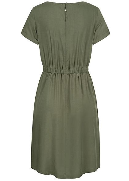 Hailys Damen Kleid 2-Pockets Taillengummibund khaki grün