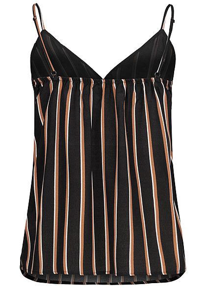 Hailys Damen V-Neck Chiffon Top Streifen Muster 2-lagig Knopfleiste schwarz braun