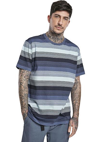 Urban Classics Herren T-Shirt Streifen Muster vintage blau schwarz